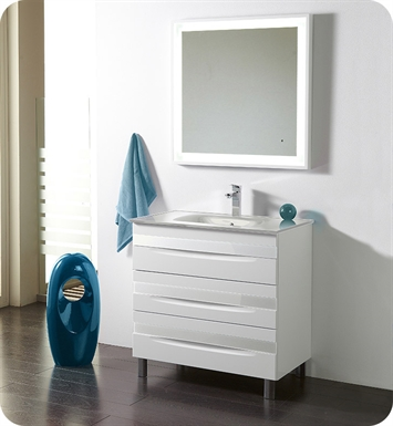 "Fresca Platinum FPVN7564-WH-WH-WH Giocco 32"" Glossy White Modern Bathroom Vanity"
