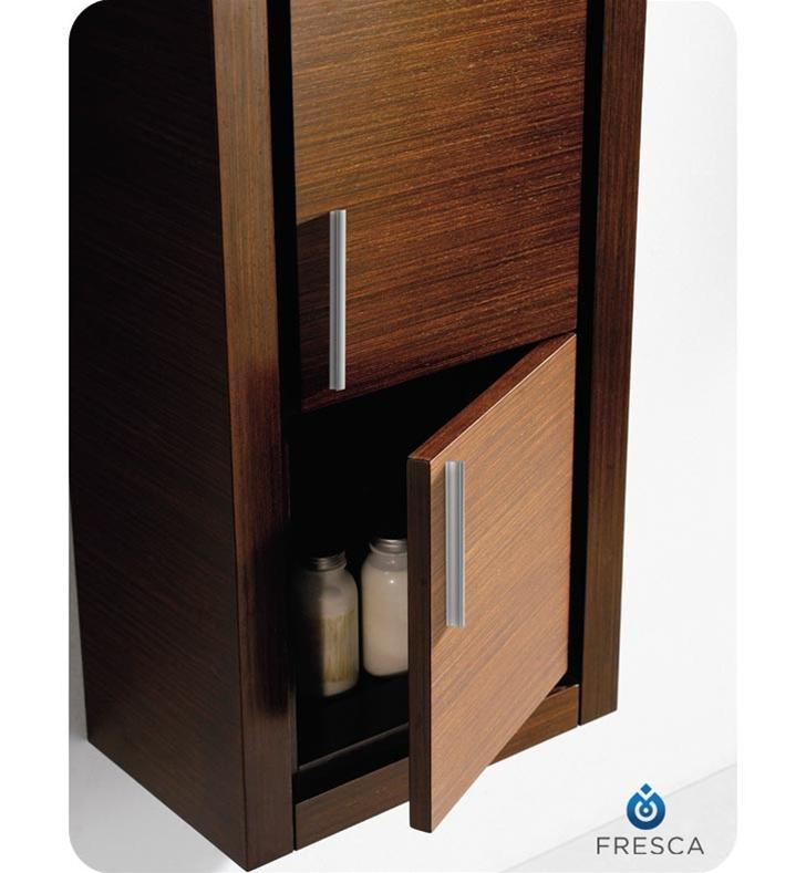 fresca fst8140wg wenge brown bathroom linen side cabinet with 2 doors