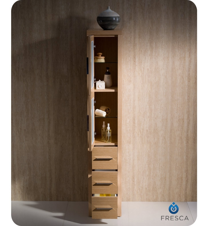 Fresca fst6260lo torino tall bathroom linen side cabinet in light oak for Oak linen cabinet for bathrooms