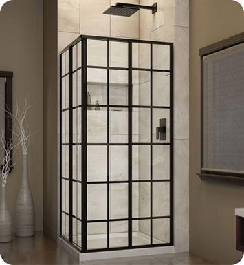DreamLine SHEN-8134340-89 French Corner Sliding Shower Enclosure in Satin Black Finish