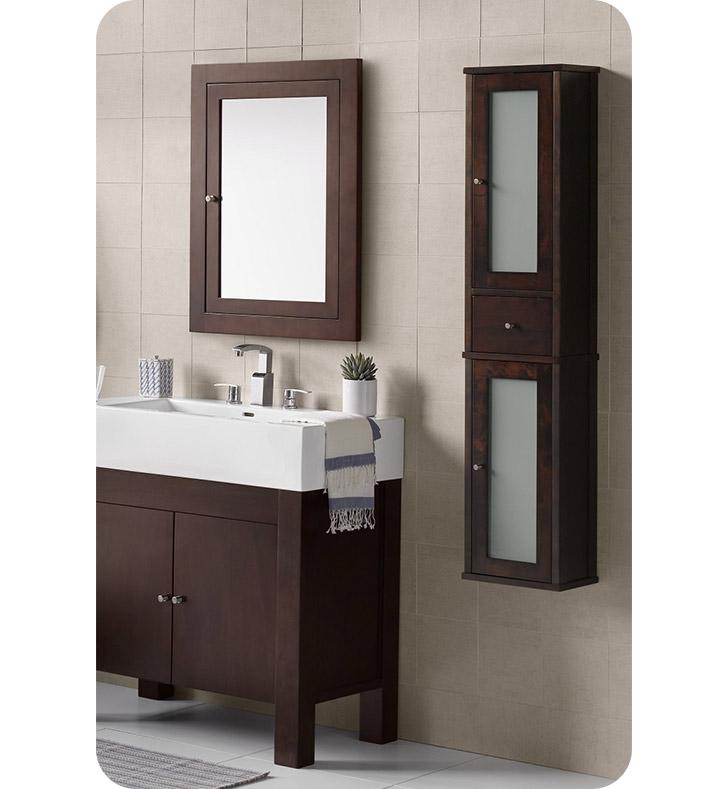ronbow 687156 f07 tall 55 bathroom wall cabinet in vintage walnut