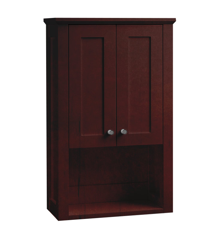 Ronbow 688118 3 H01 Shaker Bathroom Wall Cabinet In Dark Cherry