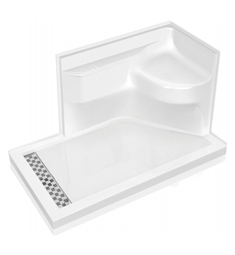 fleurco asbl603218 bella shower base with seat in acrylic left side