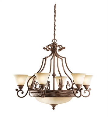 Kichler 2313TZG Larissa Collection Chandelier 6 Light in Tannery Bronze with Gold Accent