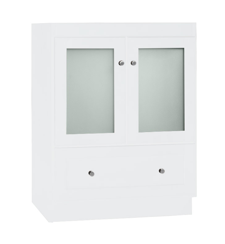 Ronbow 080824 1 W01 Shaker Modular 24 Bathroom Vanity Cabinet Base In White Frosted Glass Doors