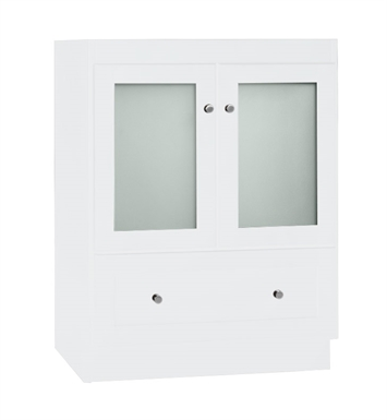 Ronbow 080824 1 w01 shaker modular 24 bathroom vanity cabinet base in white frosted glass doors for Bathroom vanity with frosted glass doors