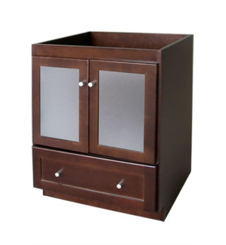 Ronbow 080830 1 h01 shaker modular 30 bathroom vanity cabinet base in dark cherry frosted for Bathroom vanity with frosted glass doors