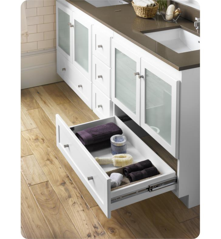 Ronbow 080830 1 W01 Shaker Modular 30 Bathroom Vanity Cabinet Base In White Frosted Glass Doors
