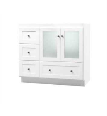 Ronbow 081930 1r w01 shaker modular 30 bathroom vanity cabinet base in white frosted glass for Bathroom vanity with frosted glass doors