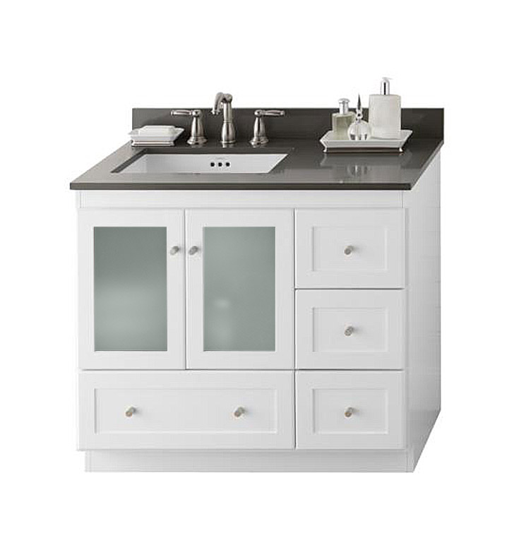 Ronbow 081936 1l W01 Shaker Modular 36 Bathroom Vanity Cabinet Base In White Frosted Glass