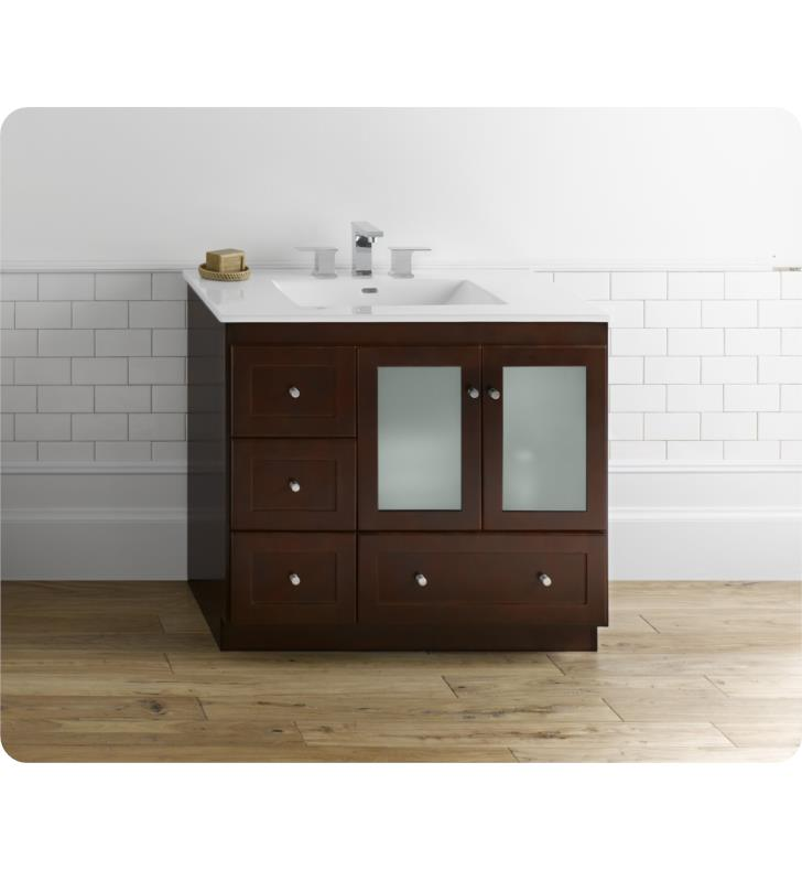 Ronbow 081936 1r h01 shaker modular 36 bathroom vanity cabinet base in dark cherry frosted for Bathroom vanity with frosted glass doors