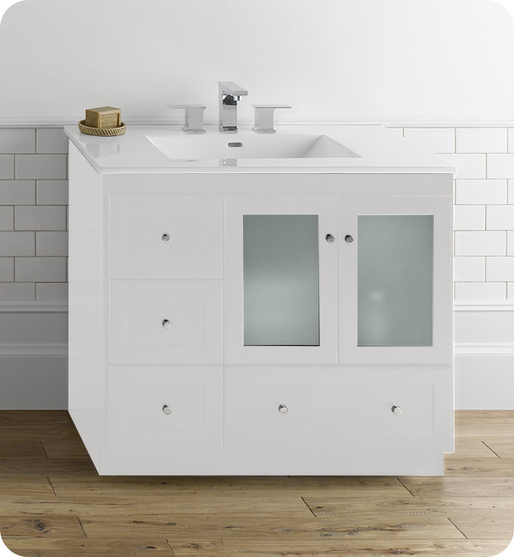 Ronbow 081936 1r w01 shaker modular 36 bathroom vanity cabinet base in white frosted glass for Bathroom vanity with frosted glass doors