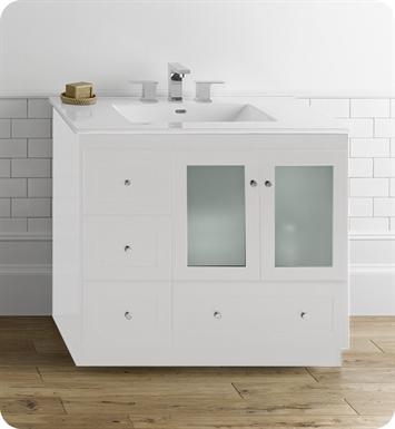 Ronbow 081936 1r w01 shaker modular 36 bathroom vanity - Bathroom vanity with frosted glass doors ...