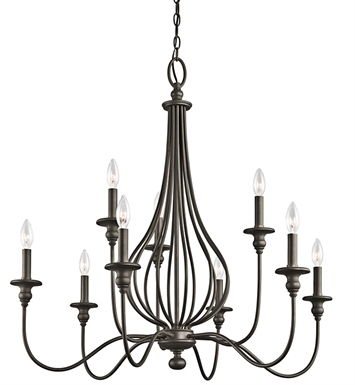 Kichler 43331OZ Kensington Collection Chandelier 9 Light in Olde Bronze