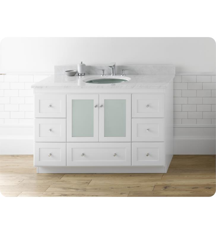 Ronbow 081948 1 w01 shaker modular 48 bathroom vanity cabinet base in white frosted glass doors for Bathroom vanity with frosted glass doors