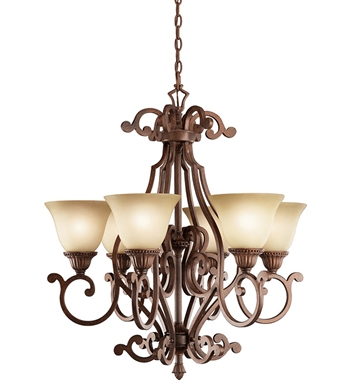 Kichler 2216TZG Larissa Collection Chandelier 6 Light in Tannery Bronze with Gold Accent