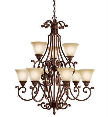 Kichler 2217TZG Larissa Collection Chandelier 9 Light in Tannery Bronze with Gold Accent
