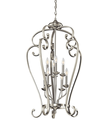 Kichler 43166NI Monroe Collection Chandelier Foyer Cage 8 Light NI in Brushed Nickel
