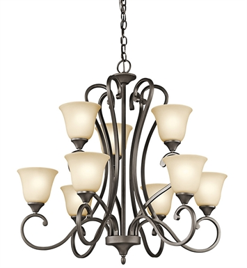 Kichler 43177OZ Feville Collection Chandelier 9 Light OZ in Olde Bronze