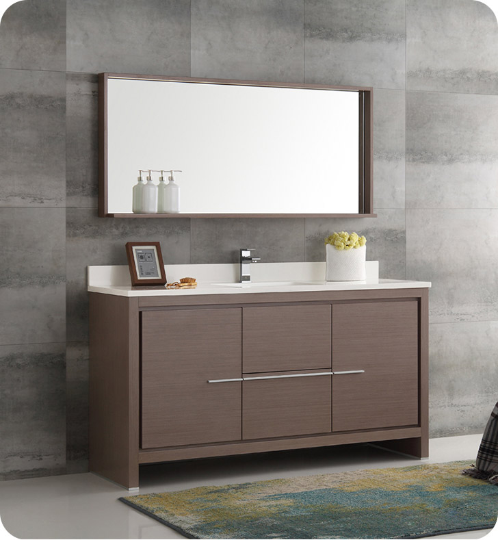 Fresca FVN8119GO S Allier 60 Gray Oak Modern Single Sink Bathroom Vanit