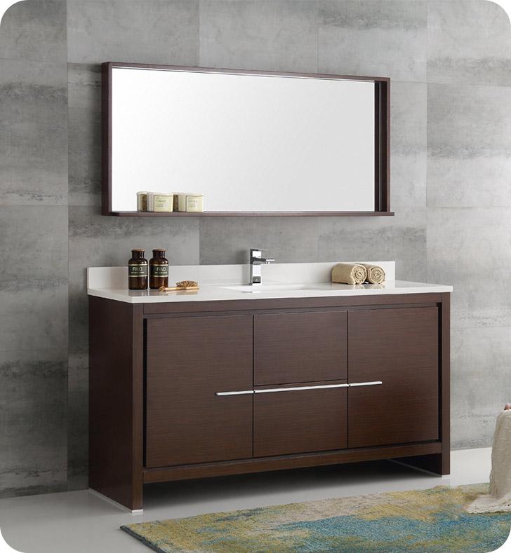 Fresca fvn8119wg s allier 60 wenge brown modern single for Decorplanet bathroom vanities