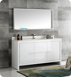 "Fresca FVN8119WH-S Fresca Allier 60"" White Modern Single Sink Bathroom Vanity with Mirror"