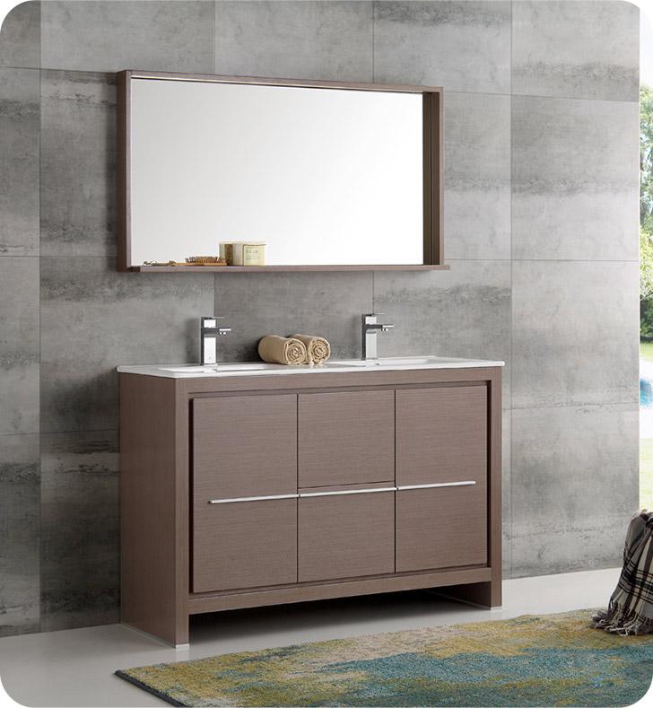 """Fresca FVN8148GO-D Allier 48"""" Gray Oak Modern Double Sink ..."""