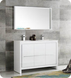"Fresca FVN8148WH-D Fresca Allier 48"" White Modern Double Sink Bathroom Vanity with Mirror"
