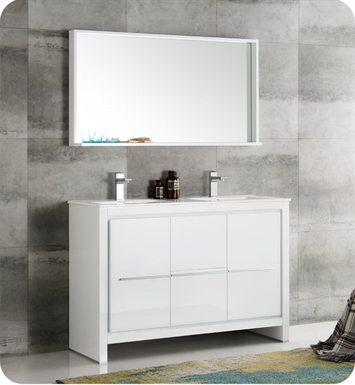 Fresca FVNWHD Allier  White Modern Double Sink Bathroom - Modern double sink bathroom vanity