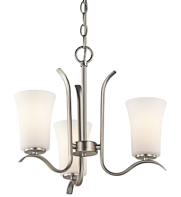 Kichler 43073NI Armida Collection Mini Chandelier 3 Light OZ in Brushed Nickel