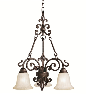 Kichler 2088CZ Wilton Collection Chandelier 3 Light in Carre Bronze