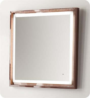 "Fresca Platinum FPMR7544CL Napoli 32"" Bathroom Mirror with LED Lighting and Fog Free System in Chocolate Gloss"