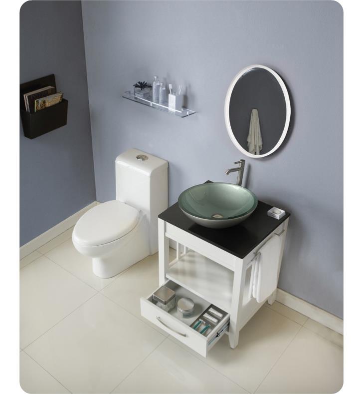 Decolav 5360 WHT Ambrosia 24 White Bathroom Vanity With Black Granite Top