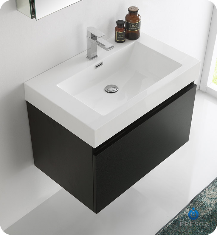 Fresca Fvn8007bw Mezzo 30 Black Wall Hung Modern Bathroom Vanity With Medicine Cabinet