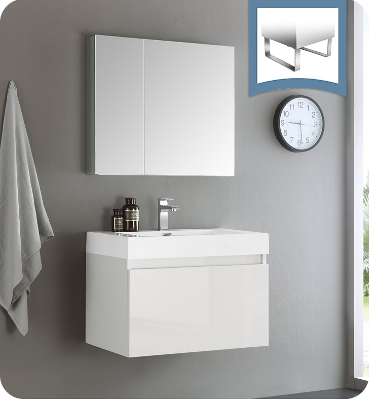 Fresca Fvn8007wh Mezzo 30 White Wall Hung Modern Bathroom Vanity With Medicine Cabinet