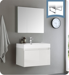 "Fresca FVN8007WH Mezzo 30"" White Wall Hung Modern Bathroom Vanity with Medicine Cabinet"