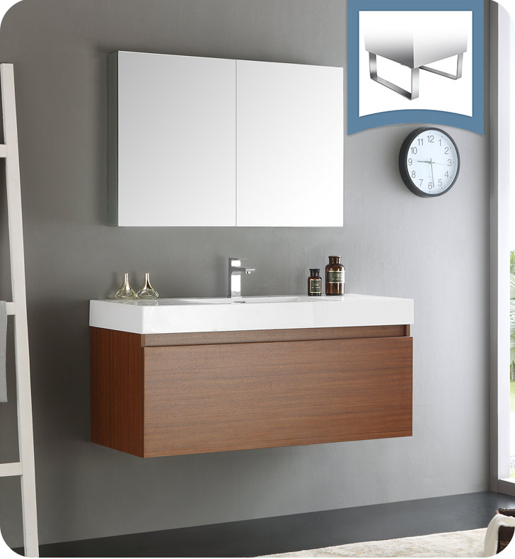 Fresca fvn8011tk mezzo 48 teak wall hung modern bathroom for Bathroom cabinets modern