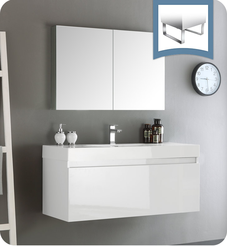 Fresca fvn8011wh mezzo 48 white wall hung modern bathroom for Bathroom cabinets modern