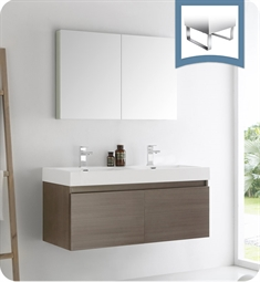 "Fresca FVN8012GO Mezzo 48"" Gray Oak Wall Hung Double Sink Modern Bathroom Vanity with Medicine Cabinet"