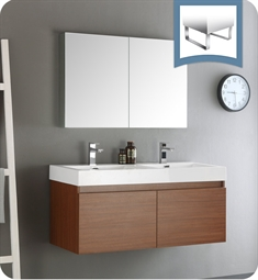 "Fresca FVN8012TK Mezzo 48"" Teak Wall Hung Double Sink Modern Bathroom Vanity with Medicine Cabinet"