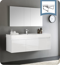 "Fresca FVN8041WH Mezzo 59"" White Wall Hung Single Sink Modern Bathroom Vanity with Medicine Cabinet"