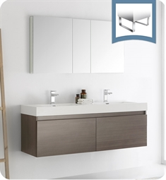 "Fresca FVN8042GO Mezzo 60"" Gray Oak Wall Hung Double Sink Modern Bathroom Vanity with Medicine Cabinet"