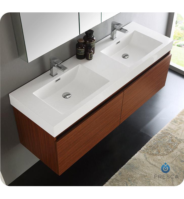 Fresca FVN8042TK Mezzo 59 Teak Wall Hung Double Sink Modern Bathroom Va