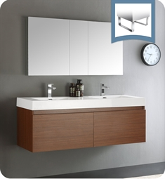 "Fresca FVN8042TK Mezzo 60"" Teak Wall Hung Double Sink Modern Bathroom Vanity with Medicine Cabinet"