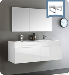 "Fresca FVN8042WH Mezzo 60"" White Wall Hung Double Sink Modern Bathroom Vanity with Medicine Cabinet"