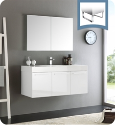 "Fresca FVN8092WH Vista 48"" White Wall Hung Modern Bathroom Vanity with Medicine Cabinet"