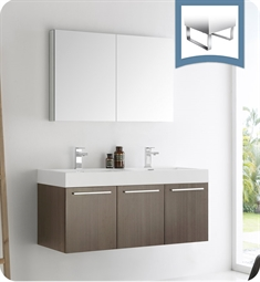 "Fresca FVN8092GO-D Vista 48"" Gray Oak Wall Hung Double Sink Modern Bathroom Vanity with Medicine Cabinet"