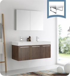 "Fresca FVN8092GW-D Vista 48"" Walnut Wall Hung Double Sink Modern Bathroom Vanity with Medicine Cabinet"