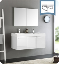 "Fresca FVN8092WH-D Vista 48"" White Wall Hung Double Sink Modern Bathroom Vanity with Medicine Cabinet"