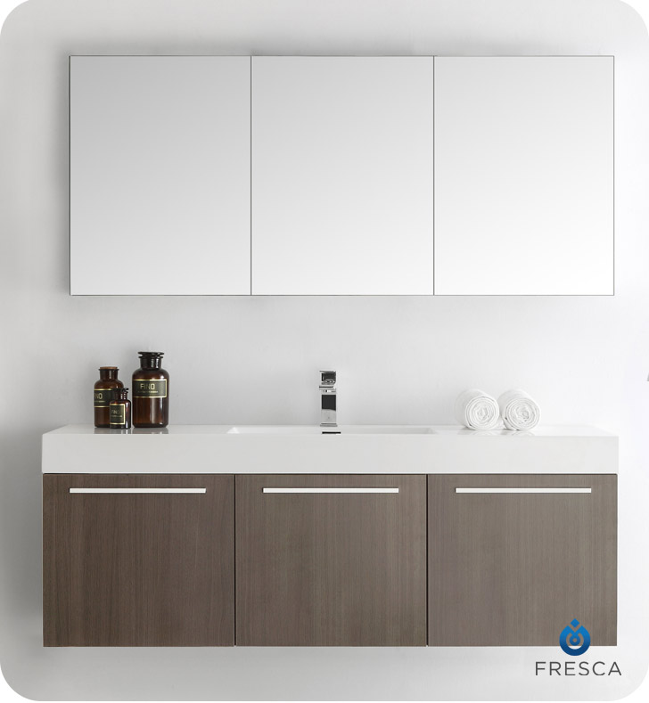 Fresca Fvn8093go Vista 59 Quot Gray Oak Wall Hung Single Sink
